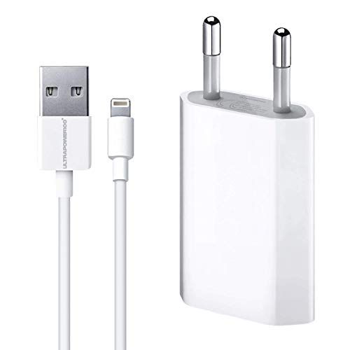ultrapower100 Cargador Compatible para iPhone 5 5c 5s 6 SE 6s 7 8 X XS XR XS XS MAX Enchufe Adaptador y Cable