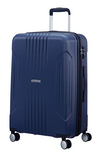 American Tourister Tracklite - Spinner Medium Expandable Equipaje de Mano, 67 cm, 82 Liters, Azul (Dark Navy)