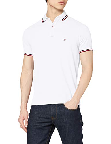 Tommy Hilfiger Tommy Tipped Slim Polo, Blanco (White), Large (Talla del Fabricante:) para Hombre