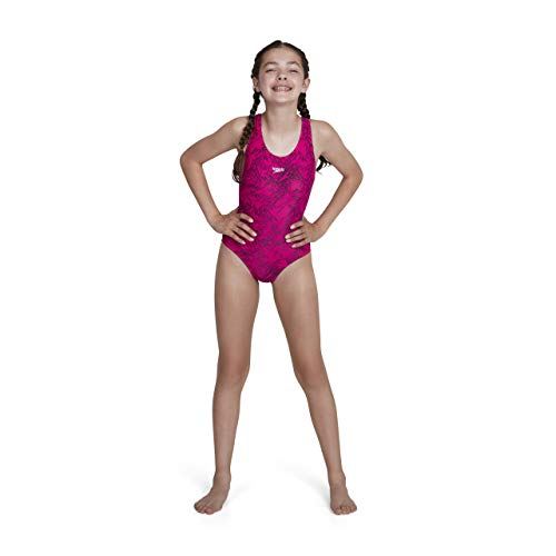 Speedo Girls Boom Allover, Bañador para niña, Multicolor (Electric Pink/Black), 140 cm (Talla del Fabricante: 28)