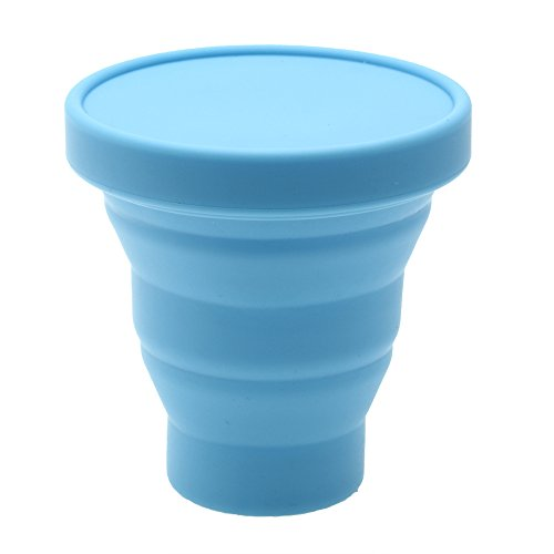 Vaso de té plegable de silicona, ideal para viaje, 200 ml, azul