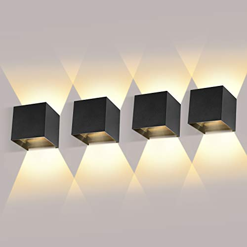 LEDMO 4 Piezas Aplique de Pared Interior/Exterior LED 12W Aplique de Pared �ngulo de Haz Ajustable 2700K-3000K Blanco Cálido Aplique Exterior Impermeable IP65 Aplique LED Negro