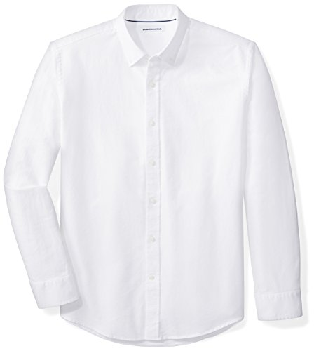 Amazon Essentials Regular-Fit Long-Sleeve Solid Oxford Shirt Camisa, Blanco (White), Small
