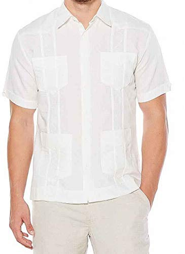 Cubavera Men's Short Sleeve Embroidered Guayabera Shirt 7064 White Size XL