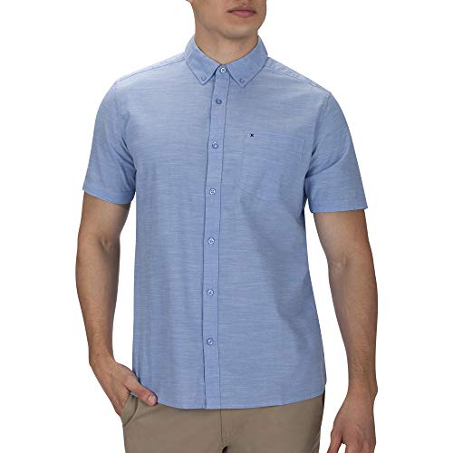 Hurley M One&Only 2.0 Woven S/S Camisas, Hombre, Blue ox, L