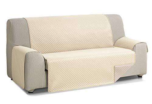 Martina Home Diamond Cubre Sofa Acolchado Reversible, Beige - Lino, 3 Plazas