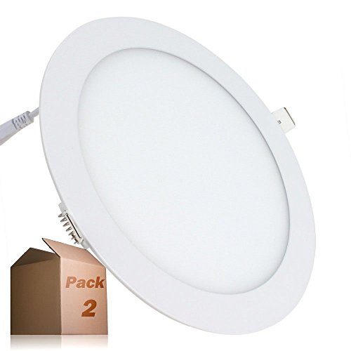 Placa LED 20W Circular SuperSlim (Pack 2) Downlight LED Empotrado Φ225mm Blanco Frío 6000K-6500k 1800 Lúmenes ONSSI LED