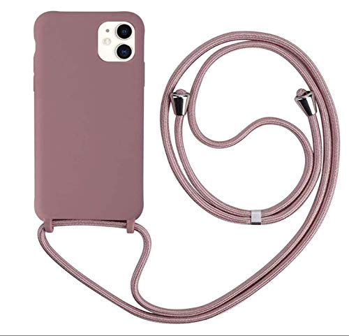 MEIVS Funda Compatible con iPhone 11, Ajustable Collar Correa de Cuello CordónCarcasa de Silicona-Loto Color