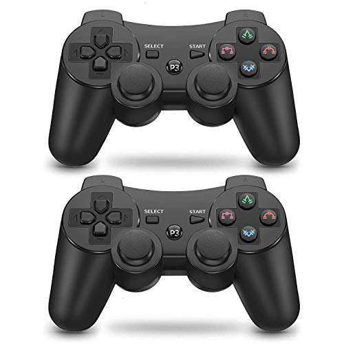 Mando PS3 inalámbrico Bluetooth Gamepad Doble Vibración Six-Axis Mando a Distancia Joystick para Playstation 3 con Cable USB (2 negros)