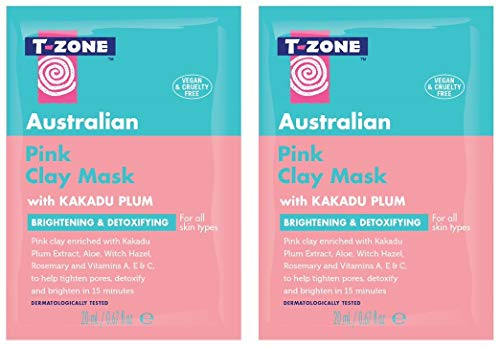T-Zone Australian Pink Clay Mask for Detoxifying and Tightening Pores Enriched with Kakadu Plum Extract 2 x 20ml