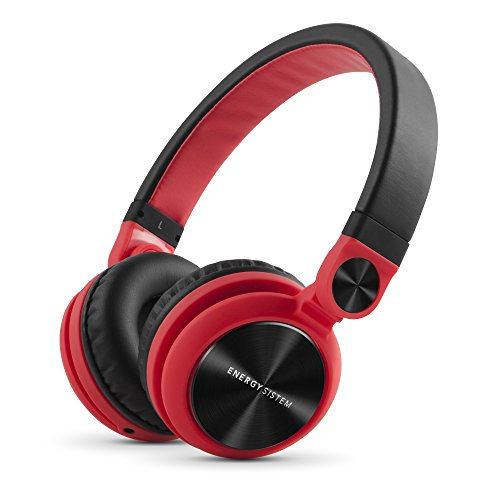Energy Sistem Headphones DJ2 Red (Auriculares Estilo DJ, Flip-Up Ear Cups, Detachable Cable, Foldable)