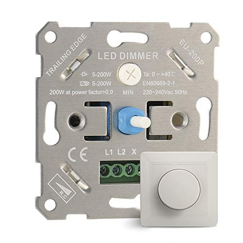 IWILCS LED Interruptor Regulador de Luz, Regulador de Intensidad LED Giratorio Interruptor de Atenuación LED de 5-200 W Empotrable para Regulable LED Incandescente Bombillas