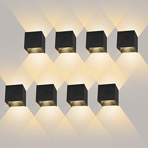 LEDMO 8 Piezas apliques pared led 12W, Aplique pared exterior Luz blanco cálido 3000K IP65 Impermeable, Aplique pared interior moderna �ngulo de haz ajustable, Lámpara de pared de aluminio Negro