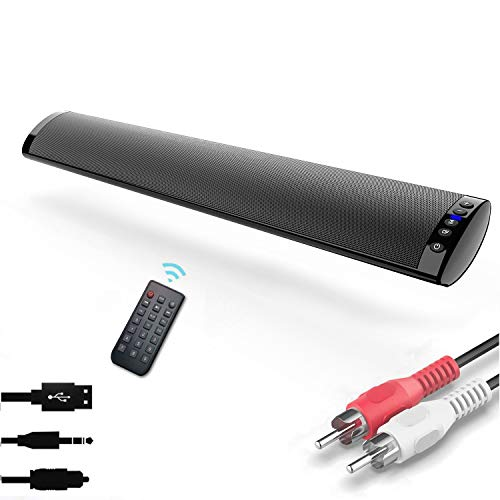 Barras de Sonido para TV, Nueva Bluetooth 5.0, Profesional Sonido Envolvente Altavoz para TV/Home Cinema, Apoyo RCA/AUX/óptico/USB/TF Tarjeta, Compatible para TV, Moviles, Tableta,Montable en la Pared