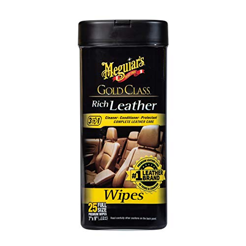 Meguiar's G10900 Gold Class Rich Leather Wipes - Toallitas para Cuero, 7' x 9'