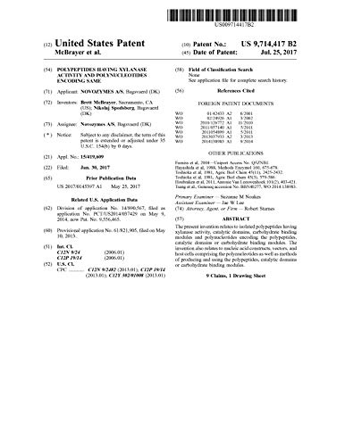 Polypeptides having xylanase activity and polynucleotides encoding same: United States Patent 9714417 (English Edition)