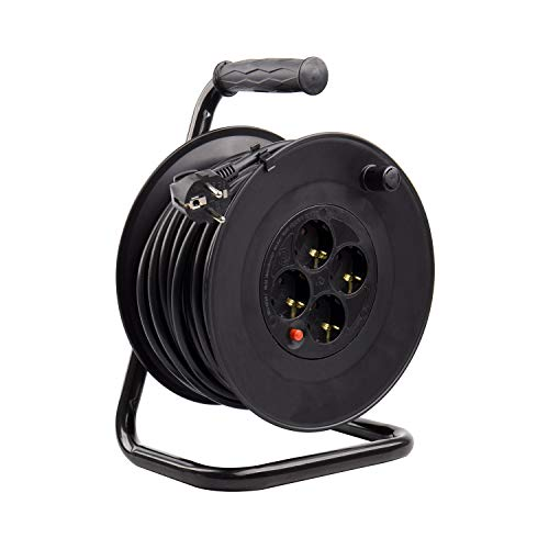 LEDKIA LIGHTING Carrete Alargador de Cable 50m 3x1.5mm Negro