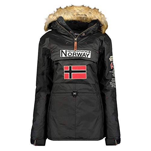 Geographical Norway - Parka para Mujer (Negro, L)