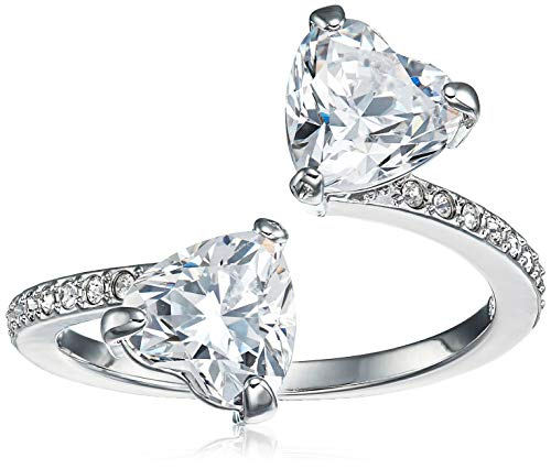 Swarovski Attract Soul Heart Ring, Women's Ring with Two Large White Swarovski Crystals in a Rhodium Plated Setting, Size 50