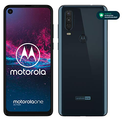 Motorola One Action - Smartphone Dual SIM (Triple cámara: 12 MP + 5 MP y video de 16 MP con ultra gran angular, 128 GB/4 GB, Pantalla 6,3� FHD+, Android 9.0) - Color Azul Denim [Versión Española]