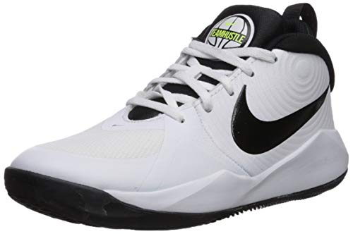 NIKE Team Hustle D 9 (GS), Basketball Shoe, White/Black-Volt, 40 EU