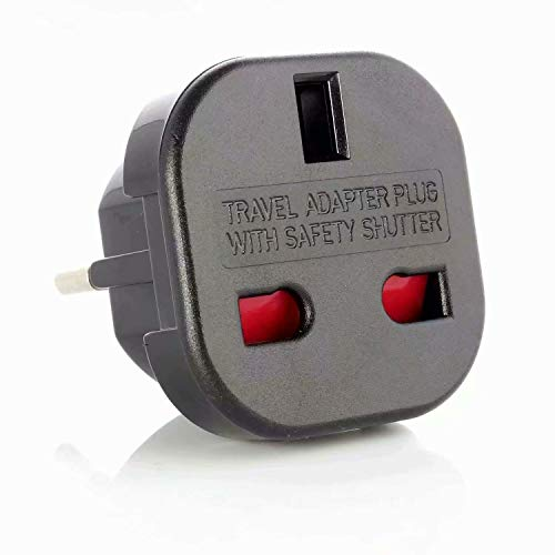 ADAPTADOR CORRIENTE ENCHUFE UK INGLES REINO UNIDO A EUROPEO REDONDO UE UNIVERSAL