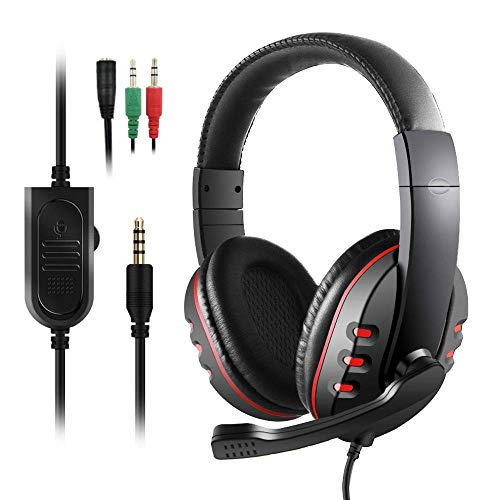Diswoe&1 Auriculares Gaming PS4,Cascos Gaming, Auriculares Cascos Gaming de PC Estéreo con Micrófono Juego Gaming Headset con 3.5mm Jack Bajo Ruido Compatible con PC/Xbox One/Nintendo Switch/PC