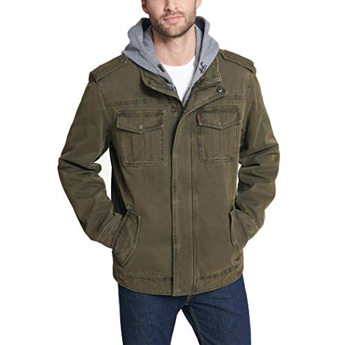 Levi's Men's Big-Tall Washed Cotton 4 Pocket Hoody Jacket with Sherpa Lining, Olive, 3X