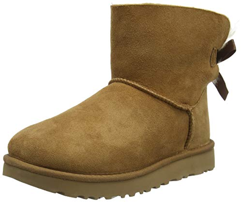 UGG Female Mini Bailey Bow II Classic Boot, Chestnut, 38 EU