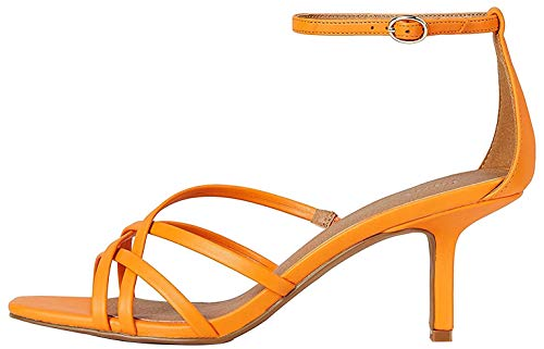 Marca Amazon - Find. Sandalias abiertas Barely There para mujer, color Naranja, talla 37 EU