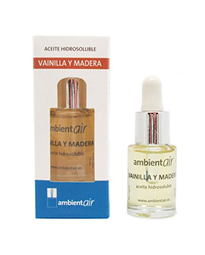 Ambientair. Aceite perfumado hidrosoluble 15ml. Aceite hidrosoluble Vainilla Madera para humidificador de ultrasonidos. Perfume de Vainilla Madera para ambientador de vapor de agua. Aceite perfumado sin alcohol.