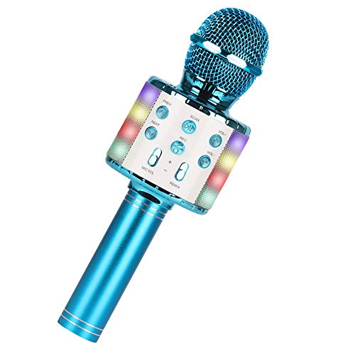 Micrófono Karaoke Bluetooth,Guiseapue Micrófono Inalámbrico Bluetooth, Bluetooth Altavoz,Micrófono Karaoke Portátil para KTV Micrófono Wireless Bluetooth Compatibile con PC/iPad/iPhone (Azul)