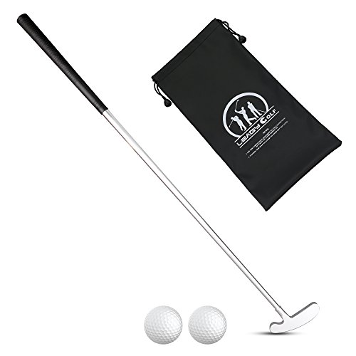 LEAGY Putter para golfistas diestros o zurdos, 2 pelotas de golf blancas y 4 piezas de aleación de zinc blanco y bolsas de golf portátiles de color negro, Left and Right