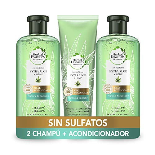 Herbal Essences Sin Sulfatos Ni Siliconas, Ingredientes Naturales Aloe Puro Y Hemp, 2 Champús 380 ml + Acondicionador 275 ml