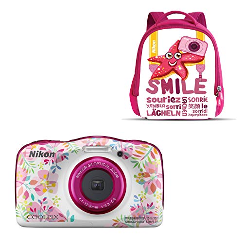 Nikon Coolpix W 150 - Cámara digital compacta de 13.2 MP (pantalla LCD de 3', video full HD, impermeable, estabilizador óptico) rosa/blanco