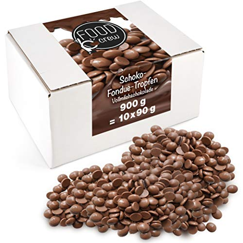 FOOD crew Chocolate Leche Pepitas de Chocolate para Hornear - 900g Chocolate Belga Fundir - Chocolate Fondant para Postres - para Fuentes o Fondue de Chocolate