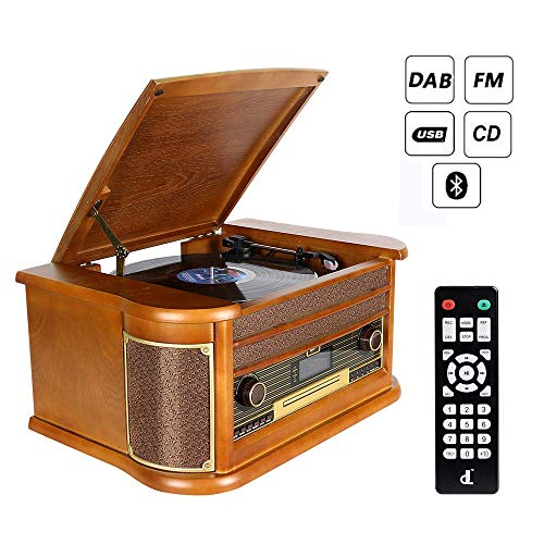 Tocadiscos de Vinilo Vintage dl Turntable Giradiscos Record Player Wood 7 en 1 Vintage Vinyl con Dab/Bluetooth Recording Player, FM, CD, MP3 Cassette y Tocadiscos de Vinilo USB