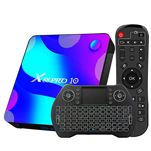 TV Box Android 10.0 4GB 64GB Decodificador Smart TV Box RK3318 USB 3.0 1080P ultra HD 4K HDR WiFi 2.4GHz 5.8GHz BT 4.1 Reproductor Multimedia de Transmisión con Mini Teclado Inalámbrico Retroiluminado
