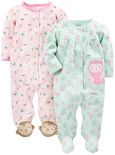Simple Joys by Carter's Baby Girls paquete de 2 pies de algodón para dormir y jugar ,Owl/Monkey ,3-6 Meses