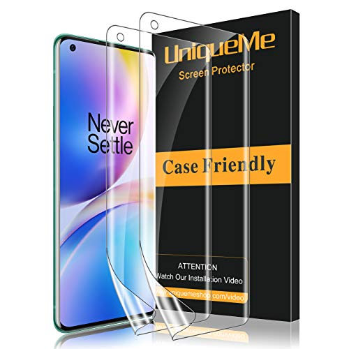 UniqueMe [2 Pack] Protector de Pantalla para Oneplus 8 Pro, [Fácil instalación] [Huella Digital Disponible] HD Clear TPU Case Friendly Película Flexible de Cobertura Completa