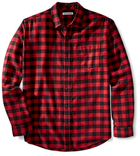 Amazon Essentials - Camisa de franela a cuadros de manga larga y ajuste regular para hombre, Rojo (Red Buffalo Plaid), US S (EU S)