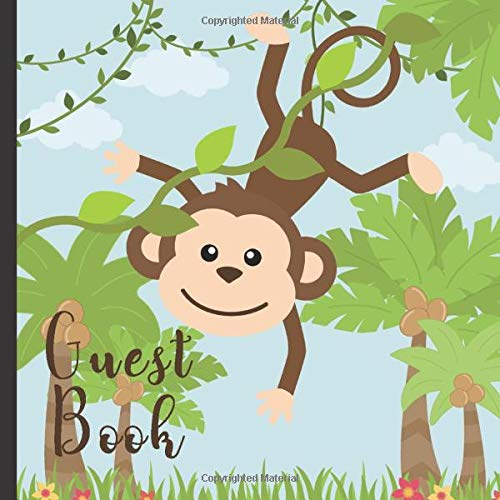 Guest Book: Gorgeous Monkey Theme Party Guest Book Includes Gift Tracker and Picture Memory Section (Monkey Party Guest Books)