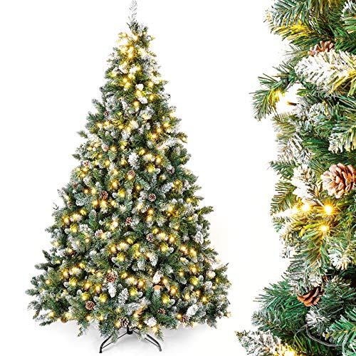Yorbay Árbol de Navidad Artificial con Luces Led de Color Blanco cálido y Blanco Nevado Grande (210 cm 410LED)